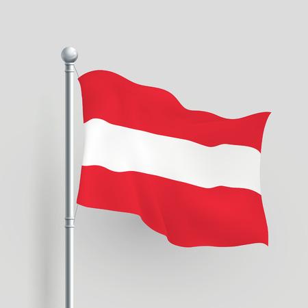 mozart: 3d Austria flag blowing in a breeze Illustration