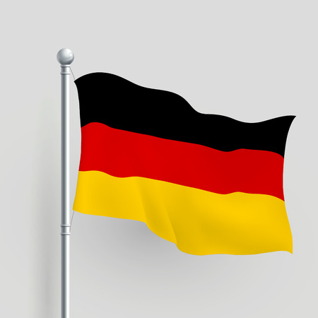 flagpole: 3d vector German flag blowing in a breeze Illustration