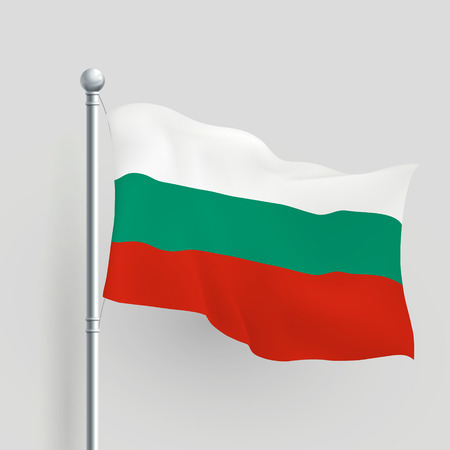 flagstaff: 3d vector Bulgaria flag blowing in a breeze Illustration