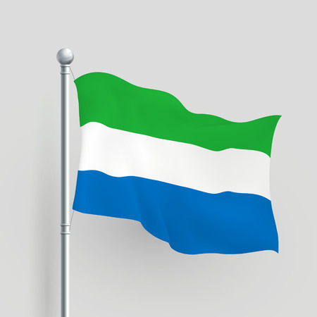 sierra: 3d Sierra Leone flag blowing in a breeze