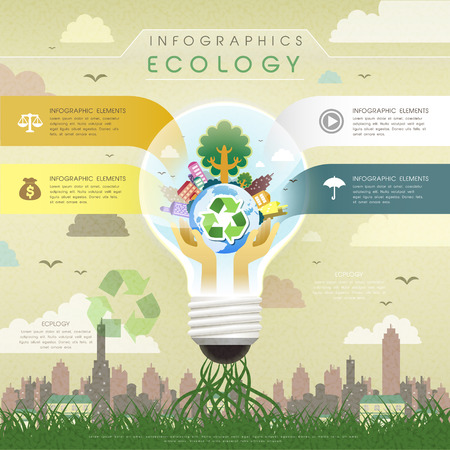 eco building: creative flat design with a ecology bulb, can be used for infographics and banners or posters, concept vector illustration