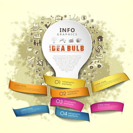 pensamiento creativo: plantilla creativa con una bombilla idea de papel y cintas, se puede utilizar para la infografía y pancartas o carteles, concepto de ilustración vectorial
