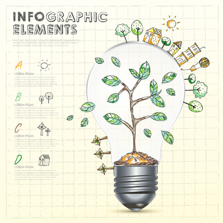 vector creative light bulb with abstract doodle environmental infographic elements Vector