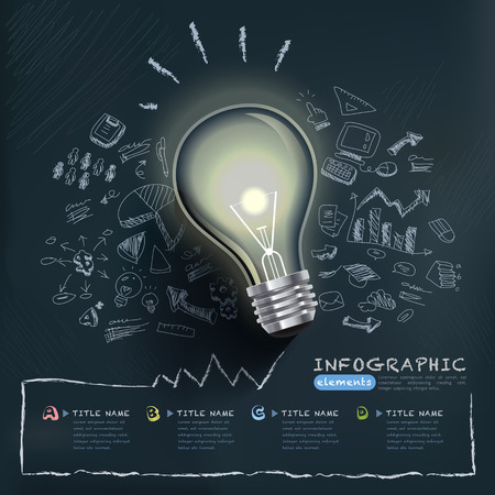 creative infographics template with bulb can be used for infographics and website layout vector, concept vector illustration Vector