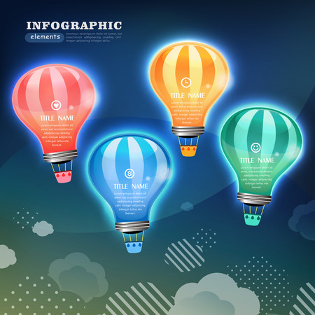 thinking balloon: creative infographics template with bulb can be used for infographics and website layout vector, concept vector illustration Illustration