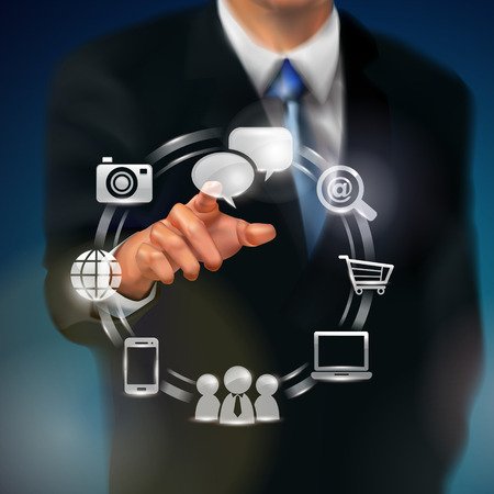 business person: business person working with modern virtual technology
