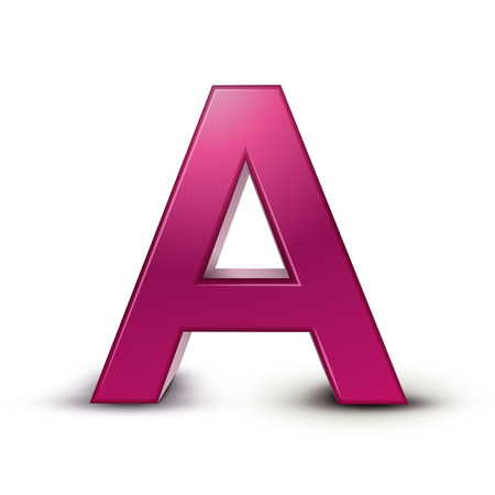 3d pink letter A isolated white background Illustration