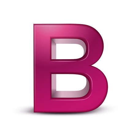 letter b: 3d pink letter B isolated white background