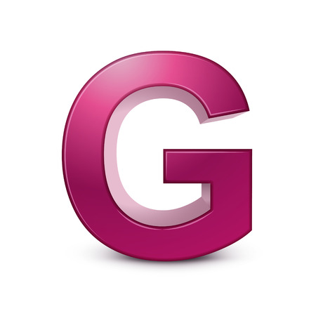 three dimensional shape: 3d pink letter G isolated white background