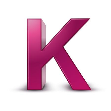 3 d ピンクの手紙 K 分離した白い背景