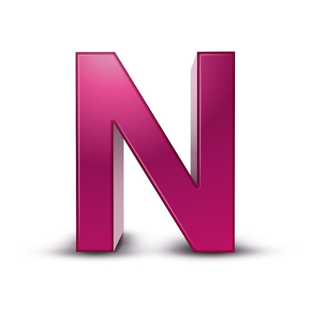 metal letter: 3d pink letter N isolated white background Illustration