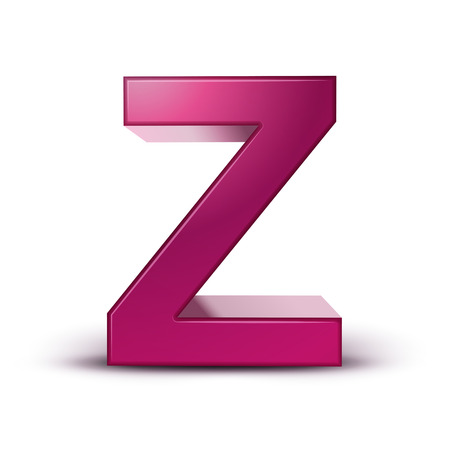 3d pink letter Z isolated white background