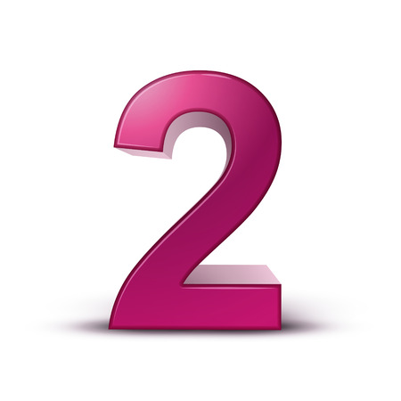3d glanzende roze nummer 2 op een witte achtergrond