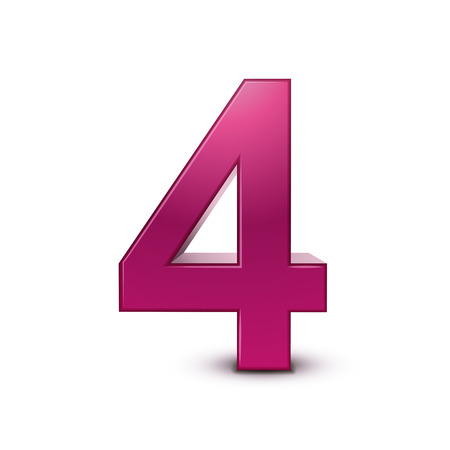 Number 4: 3d shiny pink number 4 on white background