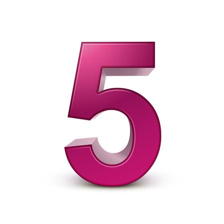 3d lucido rosa numero 5 su sfondo bianco