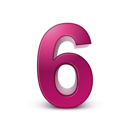 six objects: 3d shiny pink number 6 on white background