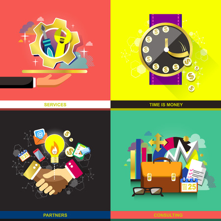 consulting services: set of flat design concept icons for business. icons for time is money, partners, consulting and services