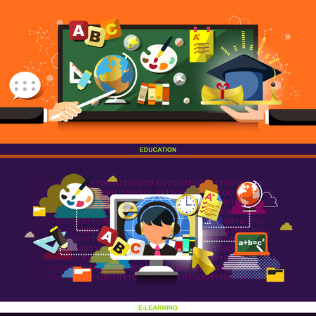 flat design concept for education and online learning, used for web banners and printed materials  Vector