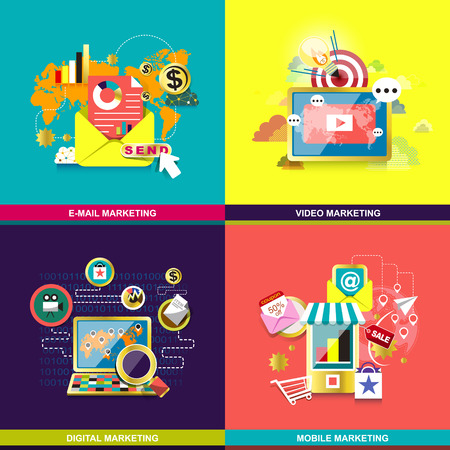 set of flat design concept for web and mobile phone services and apps. icons for mobile marketing, email marketing, video marketing and digital marketing Vector Illustration