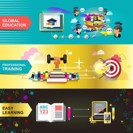 flat design concept for education, used for web banners and printed materials Vector