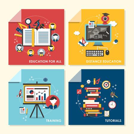 모두, 원격 교육, 훈련, 튜토리얼 교육을위한 평면 설계 개념 그림의 집합 벡터