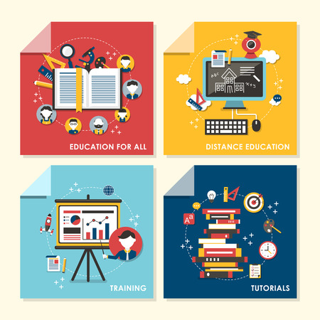 distance education: vector set of flat design concept illustration for education for all, distance education, training, tutorials