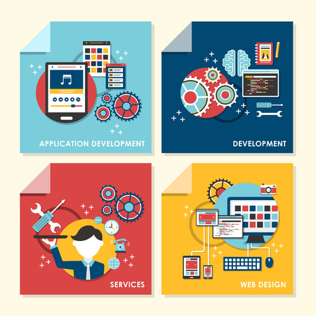 vector set of flat design concept illustration for web design, application development, services, development