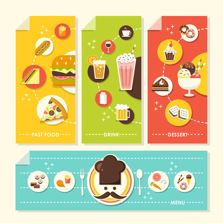 vector set of flat design concept illustration for dessert, drinks, fast food, menu Vector