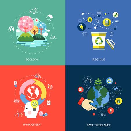 conjunto de iconos de concepto de diseño planas para los servicios web y de telefonía móvil y las aplicaciones. iconos de la ecología, piensa verde, reciclar y ahorrar el planeta.