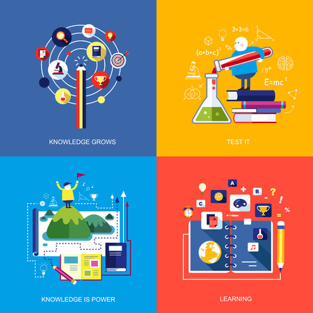 set of flat design concept icons for web and mobile phone services and apps. icons for learning, knowledge grows, test it, knowledge is power. Vector