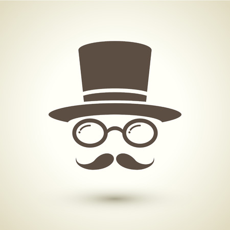 tophat: retro style hipster icon isolated on brown background Illustration