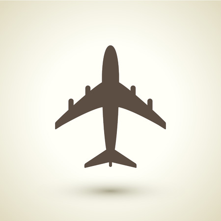 vintage airplane: retro style plane icon isolated on brown background