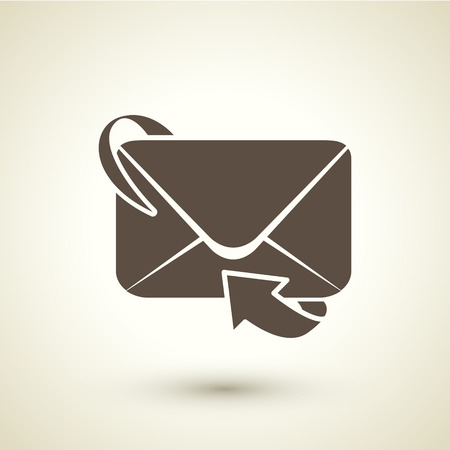 forwarding: retro style email forwarding icon isolated on brown background