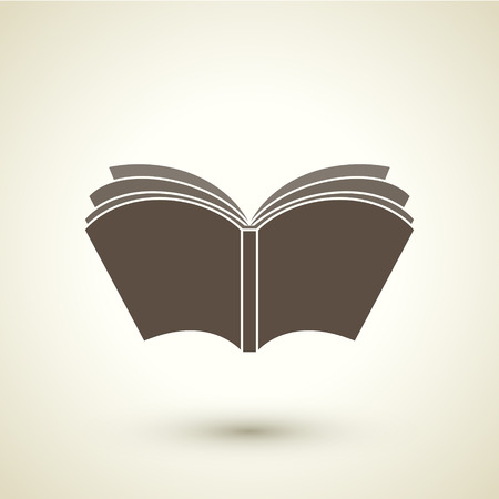 open bible: retro style open book icon isolated on brown background Illustration