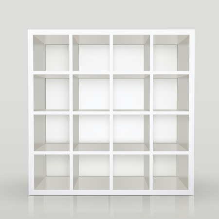 racking: white empty shelves, blank bookcase library