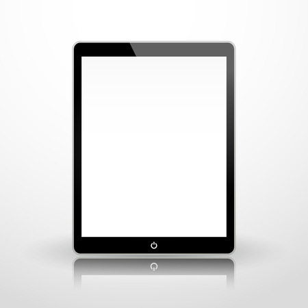 tabletpc: black business tablet with power button Illustration