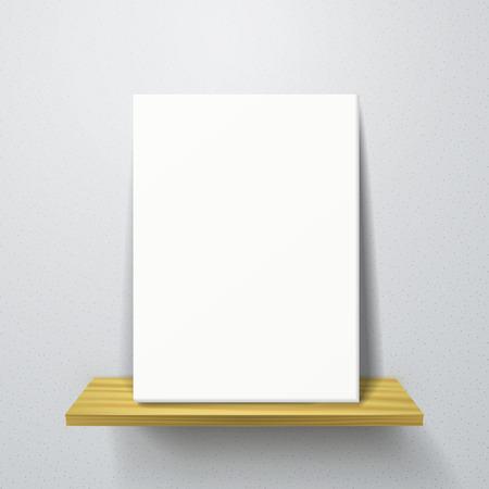 �tag�re bois: 3d affiche blanche sur une �tag�re en bois