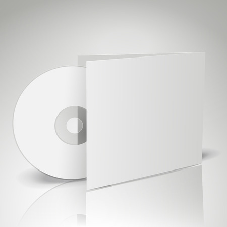 3d blank compact disk with gray background Vector