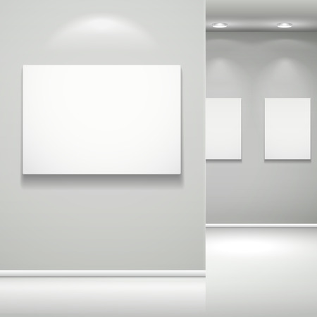 art exhibition: 3d gallery interior with empty frame on wall