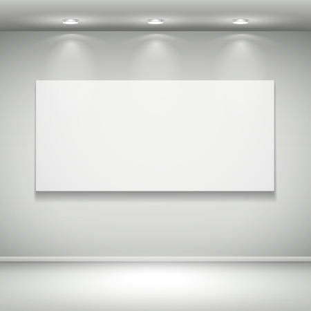 3d blank illuminated frame on the wall Vector