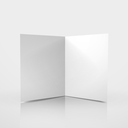 open notebook: 3d blank card template on white background