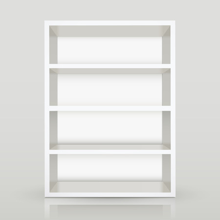 book shop: modern 3d white blank shelf on gray background Illustration