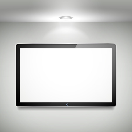 flat screen tv: 3d blank LCD TV hanging on the wall