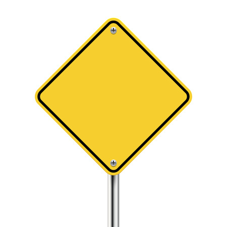 3d blank yellow road sign on white 일러스트