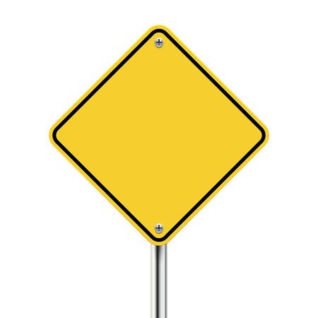 3d en blanco señal de tráfico amarillo en blanco