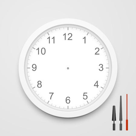 face close up: 3d blank clock face with hour, minute and second hands isolated on white background Illustration