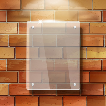 glass brick: modern 3d blank glass frame on red brick wall Illustration