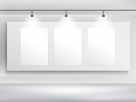 3d blank billboard template and spotlight Vector