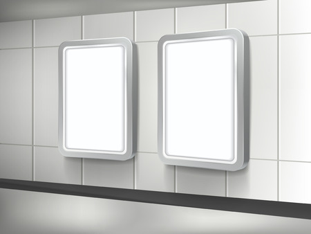 3d blank billboard and lightbox template on the wall