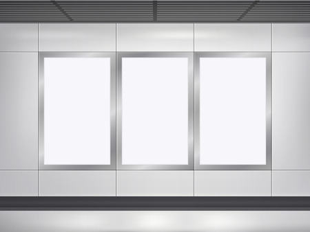 vector 3d blank billboard and lightbox template on the wall Illustration